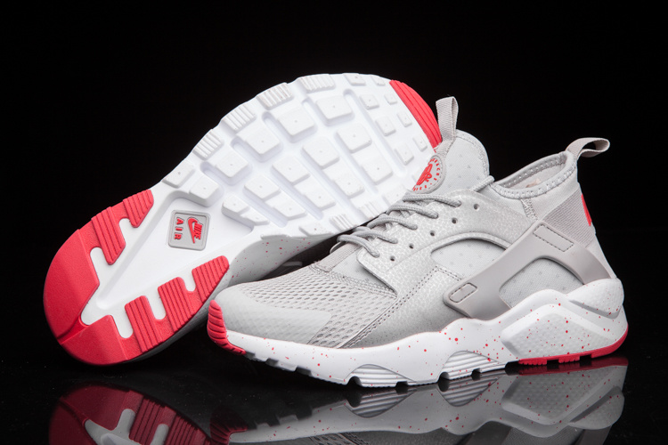 Nike Air Huarache Run Ultra Men Silvery Grey Red Nike Air Huarache